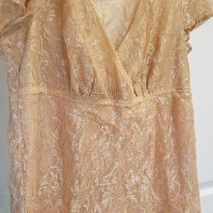 #99. Silver and gold stretch lace top
